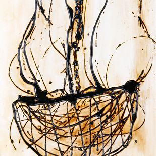 Chandelier (White) by Simran KS Lamba, Abstract Painting, Mixed Media on Wood, Beige color