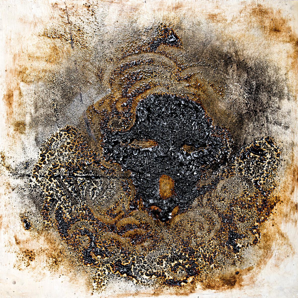 Scream by Simran KS Lamba, Abstract Painting, Mixed Media on Wood, Brown color