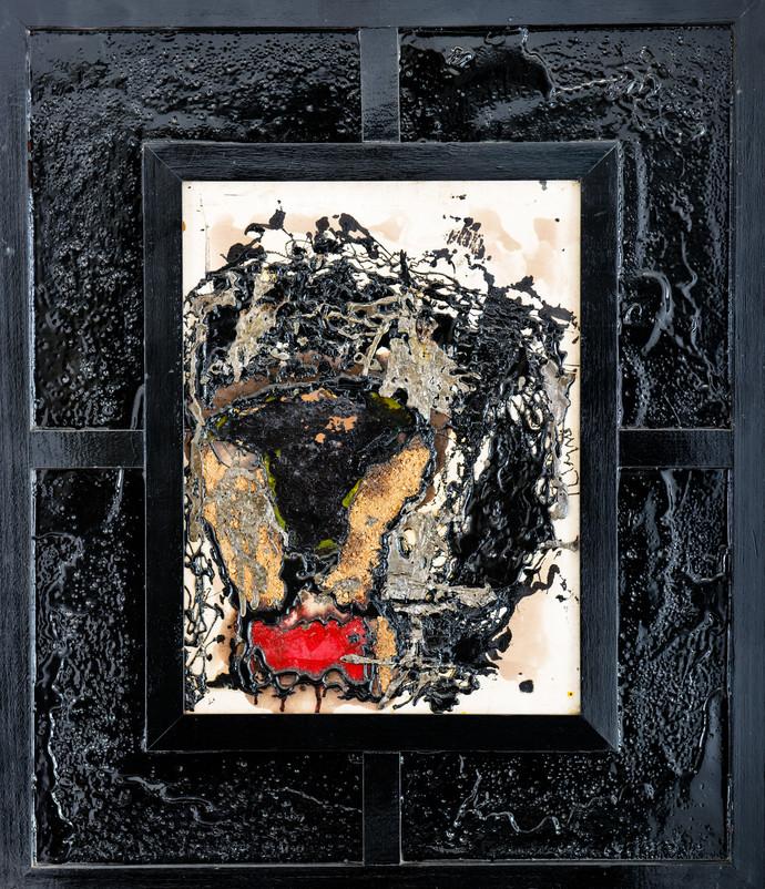 Lion by Simran KS Lamba, Abstract Painting, Mixed Media on Canvas, Gray color