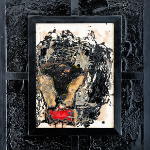 Lion by Simran KS Lamba, Abstract Painting, Mixed Media on Canvas, Gray color