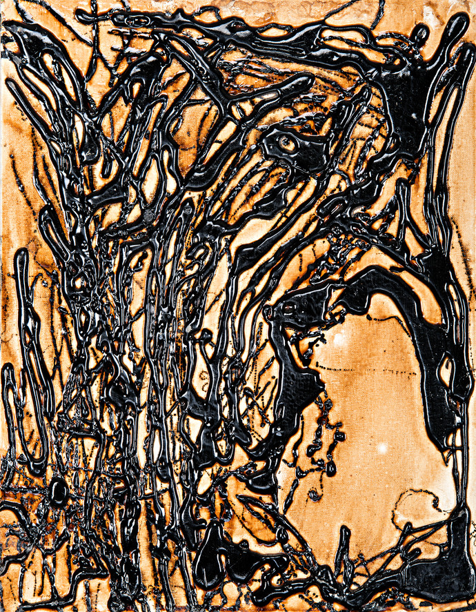 Chasm in the Forest by Simran KS Lamba, Abstract Painting, Mixed Media on Canvas, Brown color