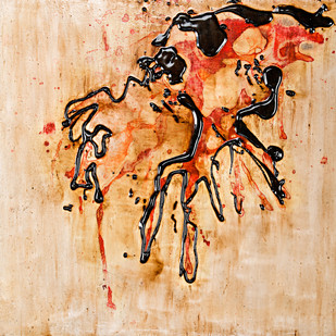 Untitled in Tar and Ink 1 by Simran KS Lamba, Abstract Painting, Mixed Media on Wood, Beige color