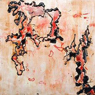 Untitled in Tar and Ink 2 by Simran KS Lamba, Abstract Painting, Mixed Media on Wood, Beige color
