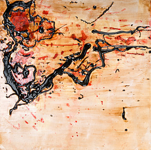 Untitled in Tar and Ink 3 by Simran KS Lamba, Abstract Painting, Mixed Media on Wood, Beige color