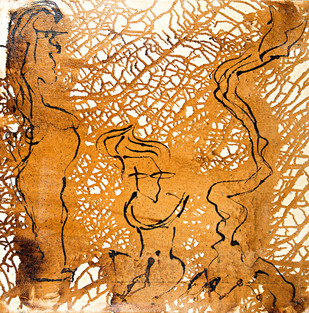 Princess in the Forest - Tar Resin Series by Simran KS Lamba, Expressionism Painting, Mixed Media on Canvas, Brown color