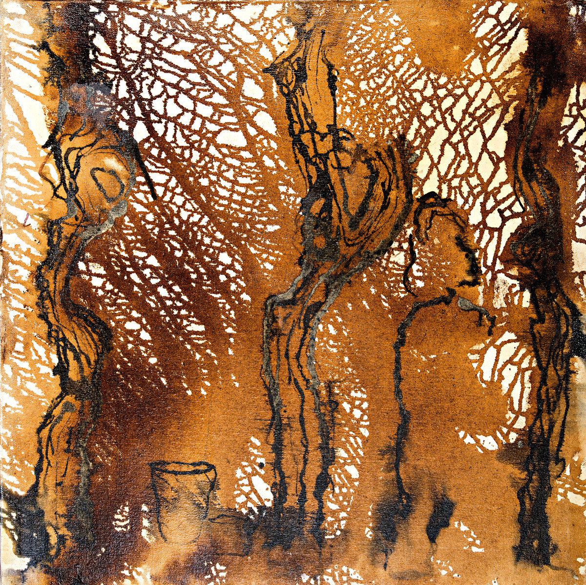 Porter in the Forest - Tar Resin Series by Simran KS Lamba, Abstract Painting, Mixed Media on Canvas, Brown color