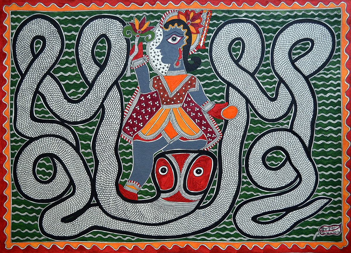 Madhubani Painting by Baua Devi, Folk Painting, Acrylic on Paper, Green color