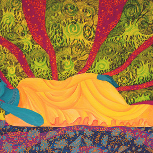 Reclining Buddha by Pragati Sharma Mohanty, Traditional Painting, Acrylic & Ink on Canvas, Brown color