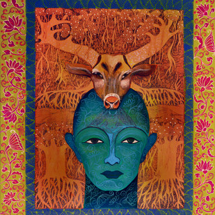 Rendezvous by Pragati Sharma Mohanty, Traditional Painting, Acrylic & Ink on Canvas, Brown color