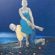 1 title twilight in a virgin beach    medium   oil   acrylic  on canvas  size 60 x 72 inch year 2015