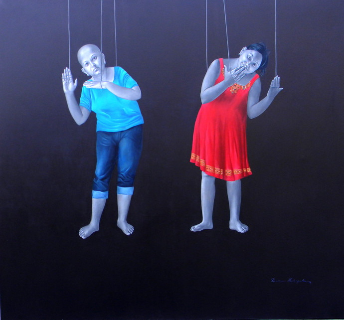 Mannequin Twins by Daina Mohapatra, Impressionism Painting, Oil on Canvas, Blue color
