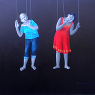 5 daina mohapatra title mannequin twins medium mix media oil   acrylic  on canvas   size  78x78inches