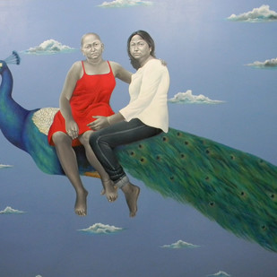 Untitled by Daina Mohapatra, Surrealism Painting, Oil on Canvas, Blue color
