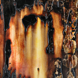 Doorway Of Light by Simran KS Lamba, Abstract Painting, Mixed Media on Canvas, Brown color