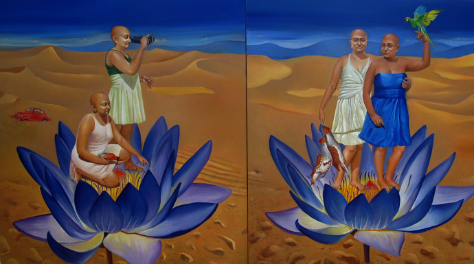 Migrating Mirage by Daina Mohapatra, Surrealism Painting, Oil on Canvas, Brown color