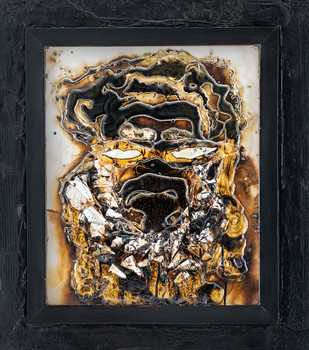 Series of Faces - 7 (Man with Beard) by Simran KS Lamba, Expressionism Painting, Mixed Media on Canvas, Gray color