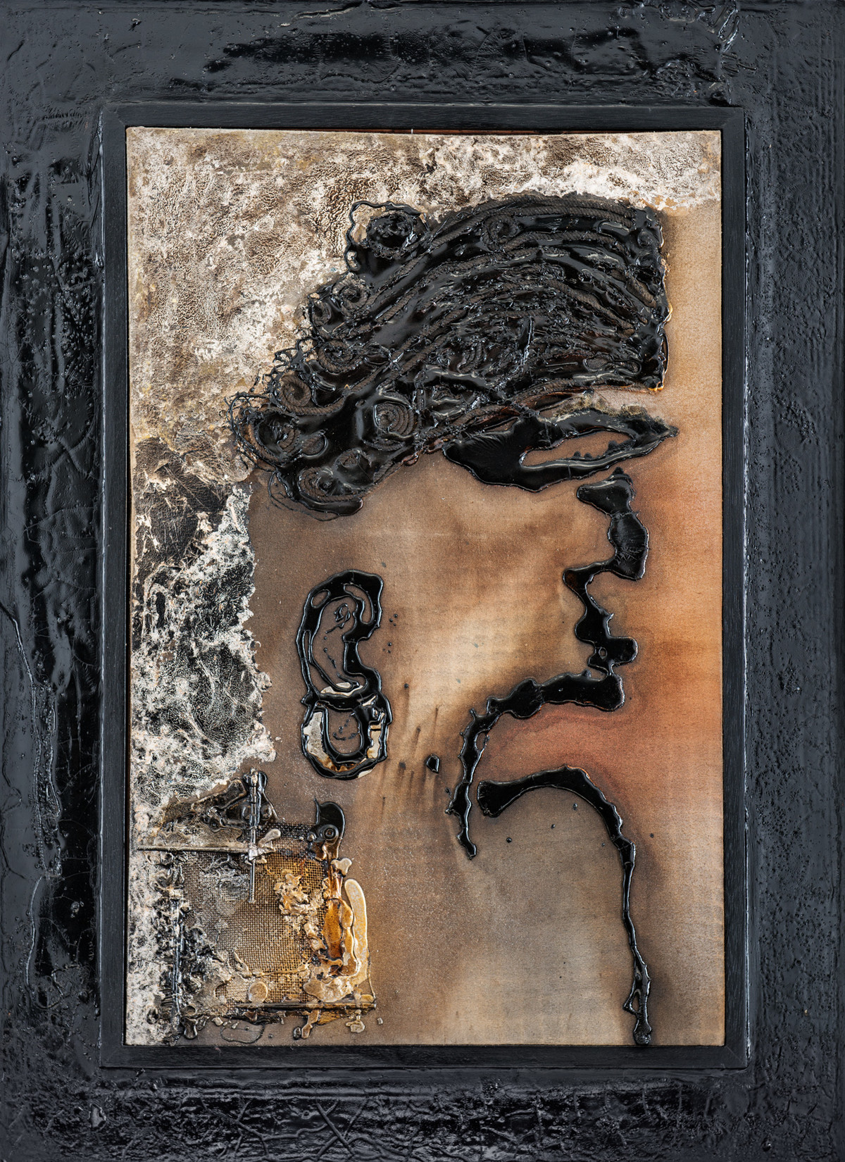 Series of Faces - 8 (Man with Ring) by Simran KS Lamba, Expressionism Painting, Mixed Media on Canvas, Gray color