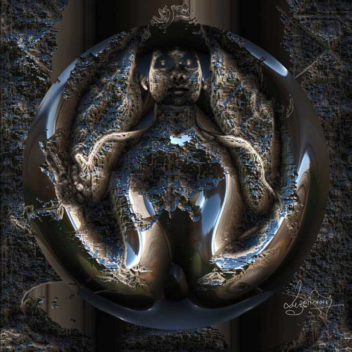 Mithun by Arun Trivedi , Digital Digital Art, Digital Print on Canvas, Gray color