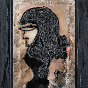 Series of Faces - 9 (Woman in Curls) by Simran KS Lamba, Expressionism Painting, Mixed Media on Canvas, Gray color