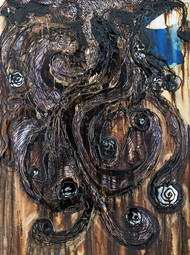 Indigo Woman in Curls by Simran KS Lamba, Abstract Painting, Mixed Media on Canvas, Gray color