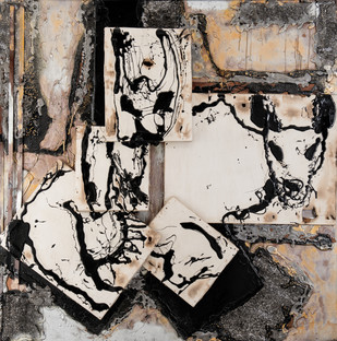 Fragments by Simran KS Lamba, Abstract Painting, Mixed Media on Canvas, Brown color