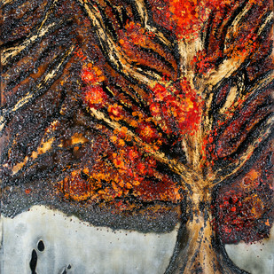 An Autumn Evening by Simran KS Lamba, Abstract Painting, Mixed Media on Canvas, Brown color