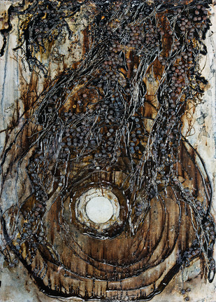 Moon in a Well by Simran KS Lamba, Abstract Painting, Mixed Media on Wood, Brown color