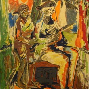 Mother & Child by Shanti Dave, Expressionism Serigraph, Serigraph on Paper, Brown color
