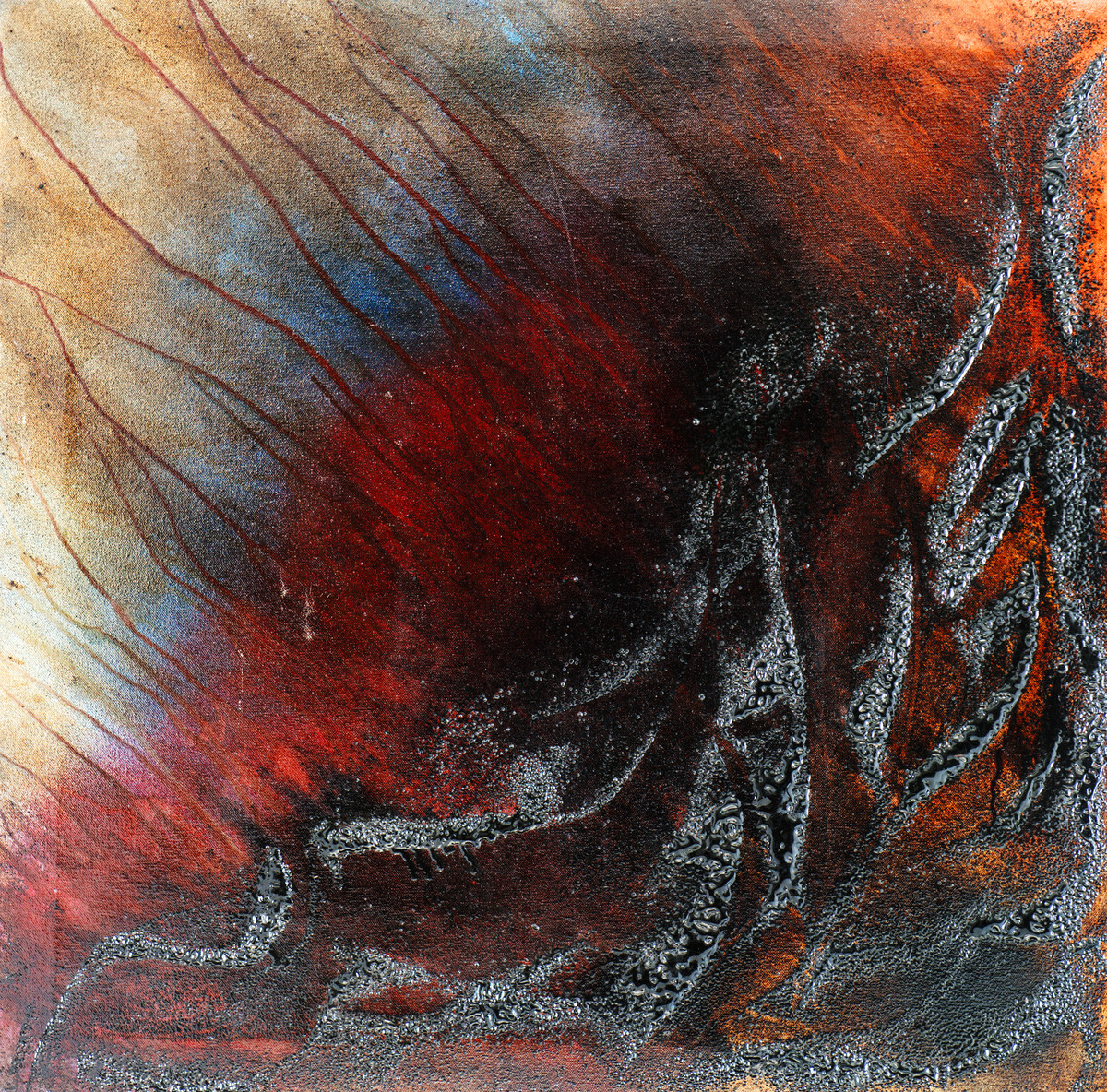 Tempest by Simran KS Lamba, Abstract Painting, Mixed Media on Canvas, Brown color