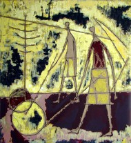 Wheel Player by Shanti Dave, Expressionism Serigraph, Serigraph on Paper, Beige color