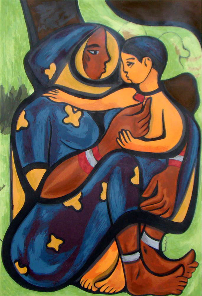 Mother & Child II by Shanti Dave, Impressionism Serigraph, Serigraph on Paper, Brown color