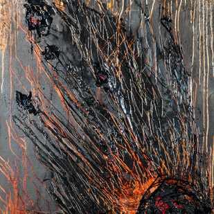Firecracker by Simran KS Lamba, Abstract Painting, Mixed Media on Canvas, Brown color