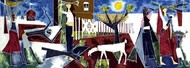 Life by Shanti Dave, Cubism Serigraph, Serigraph on Paper, Brown color