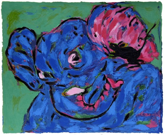 Messenger by Amit Ambalal, Impressionism Serigraph, Serigraph on Paper, Blue color