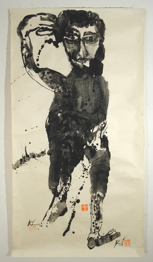 Mudra I by Kingshuk Sarkar, Expressionism Painting, Mixed Media on Paper, Beige color
