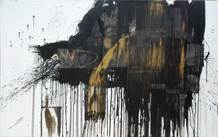 Threat by Kingshuk Sarkar, Abstract Painting, Acrylic on Canvas, Gray color