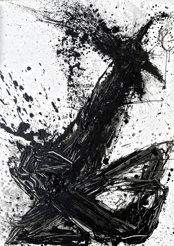 Demand by Kingshuk Sarkar, Abstract Painting, Mixed Media on Canvas, Gray color