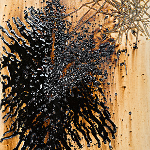 Untitled in Tar and Metal Wire A by Simran KS Lamba, Abstract Painting, Mixed Media on Canvas, Brown color