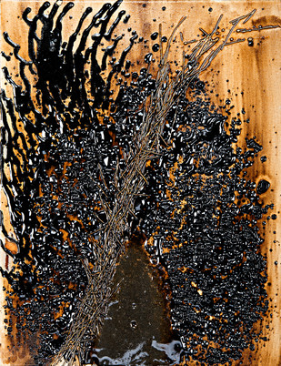 Untitled in Tar and Metal Wire B by Simran KS Lamba, Abstract Painting, Mixed Media on Canvas, Brown color