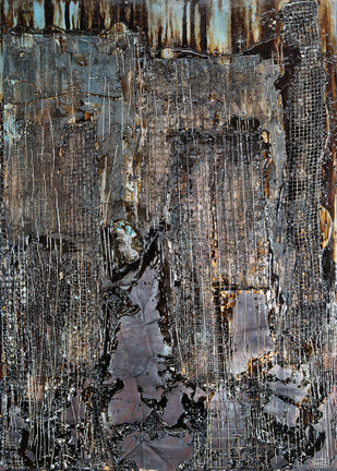 Sauntering in the Dusk by Simran KS Lamba, Abstract Painting, Mixed Media on Wood, Gray color
