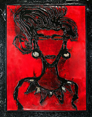 Trio 2 by Simran KS Lamba, Expressionism Painting, Mixed Media on Canvas, Red color
