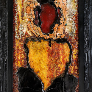 Buddh-Ganesha by Simran KS Lamba, Expressionism Painting, Mixed Media on Wood, Brown color
