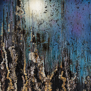 Cityscape at Night by Simran KS Lamba, Abstract Painting, Mixed Media on Wood, Blue color