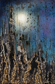 Cityscape at Night by Simran KS Lamba, Abstract Painting, Mixed Media on Wood, Blue color