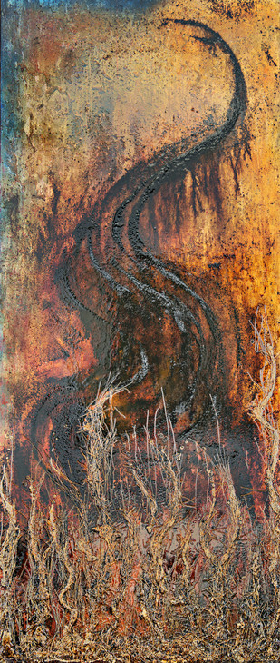 Swan Song by Simran KS Lamba, Abstract Painting, Mixed Media on Wood, Brown color