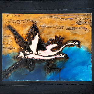 Flamingo Pair in Flight by Simran KS Lamba, Impressionism Painting, Mixed Media on Canvas, Blue color