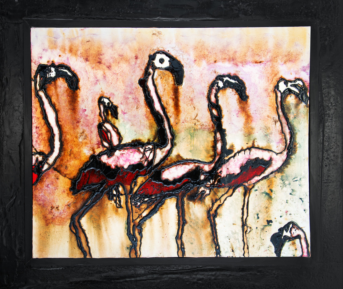 Flamingo Group by Simran KS Lamba, Impressionism Painting, Mixed Media on Canvas, Beige color