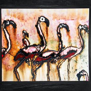 Flamingo Group by Simran KS Lamba, Impressionism Painting, Mixed Media on Canvas, Beige color