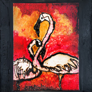 Flamingo Pair Nesting by Simran KS Lamba, Impressionism Painting, Mixed Media on Canvas, Brown color