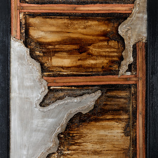 Window 1 by Simran KS Lamba, Abstract Painting, Mixed Media on Wood, Brown color